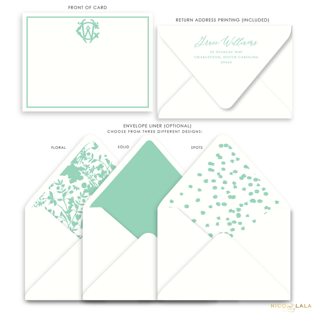 Magnolia Flat Card Stationery with Monogram, Seafoam
