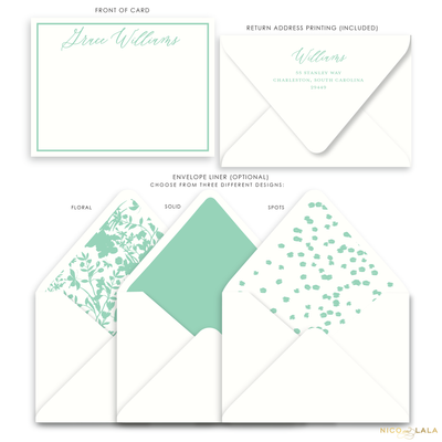 Magnolia Flat Card Stationery with Name, Seafoam