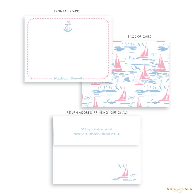 Pink Sailboat Stationery