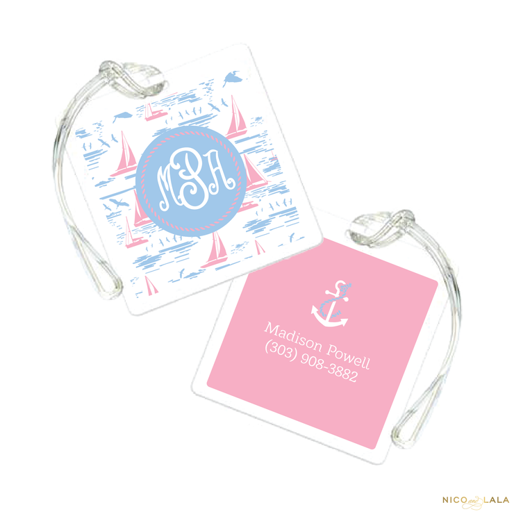 Pink Sailboat Bag Tag