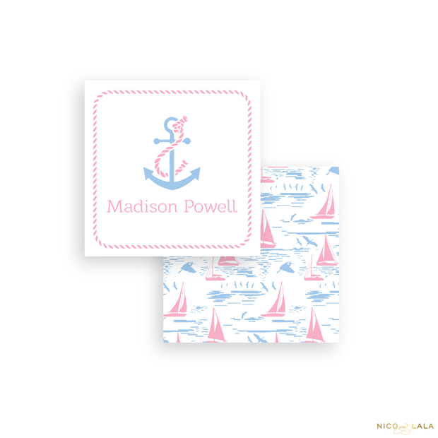 Pink Sailboat Calling Cards