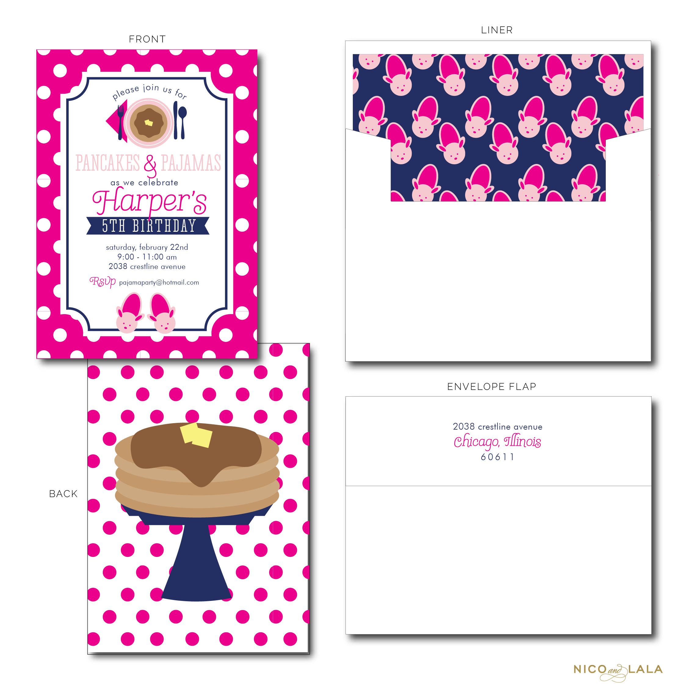 PANCAKES AND PAJAMAS BIRTHDAY INVITATIONS