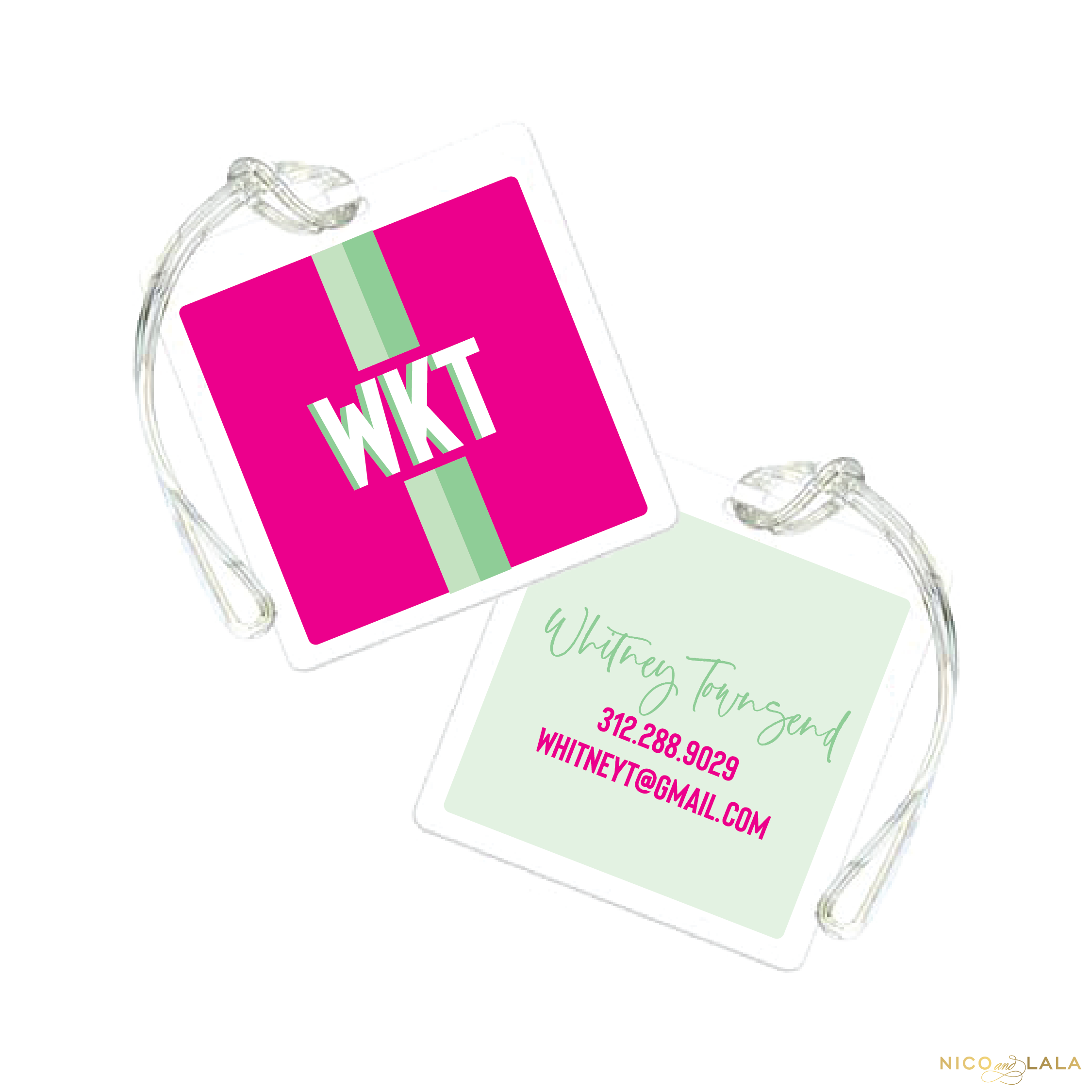 Prep Stripe Bag Tag, Hot Pink and Mint