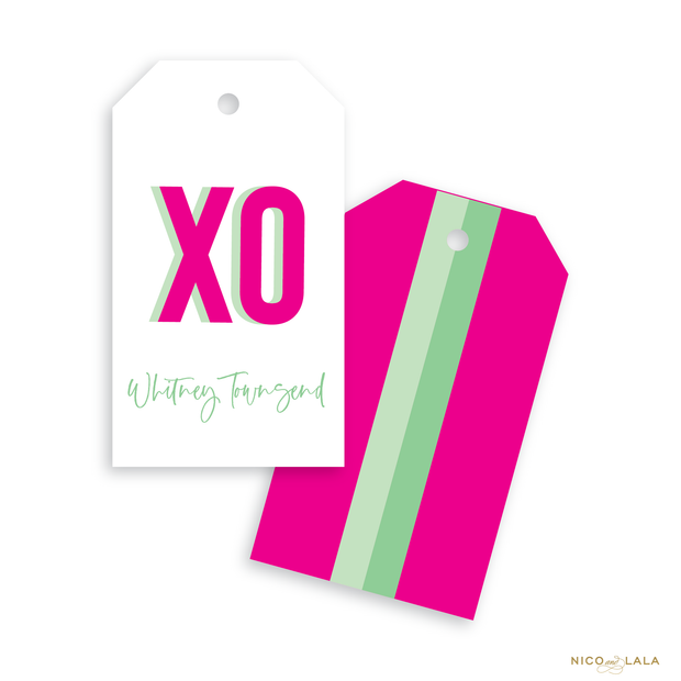 Prep Stripe Gift Tags, Hot Pink and Mint