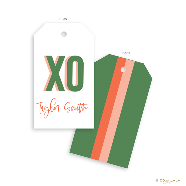 Prep Stripe Gift Tags, Olive and Coral