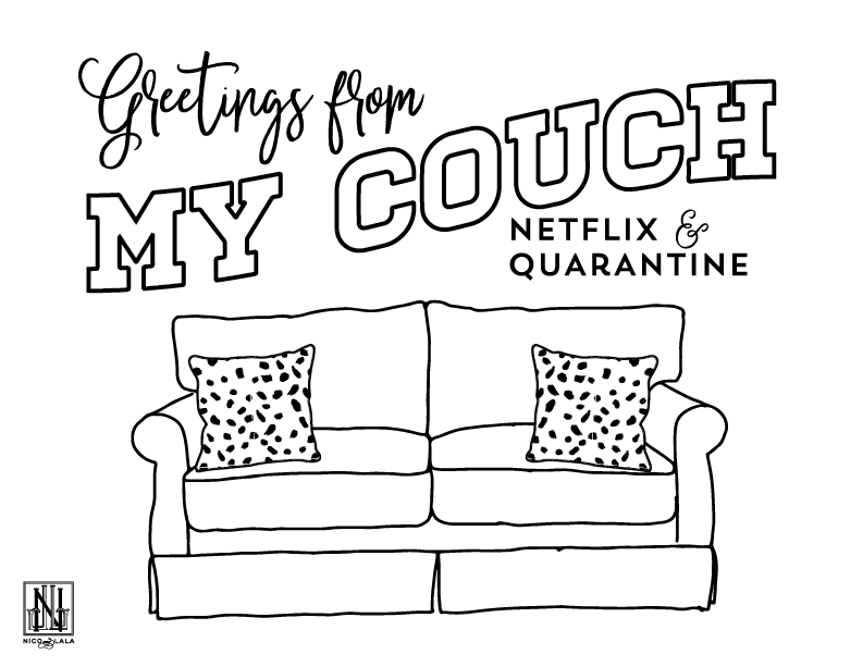 Greetings from Couch Coloring Sheet (Downloadable PDF)