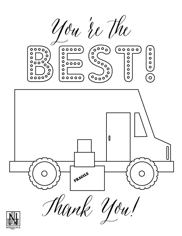 Delivery Driver Coloring Sheet (Downloadable PDF)