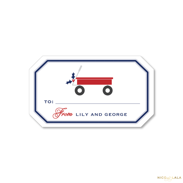 Red Wagon Christmas Gift Stickers