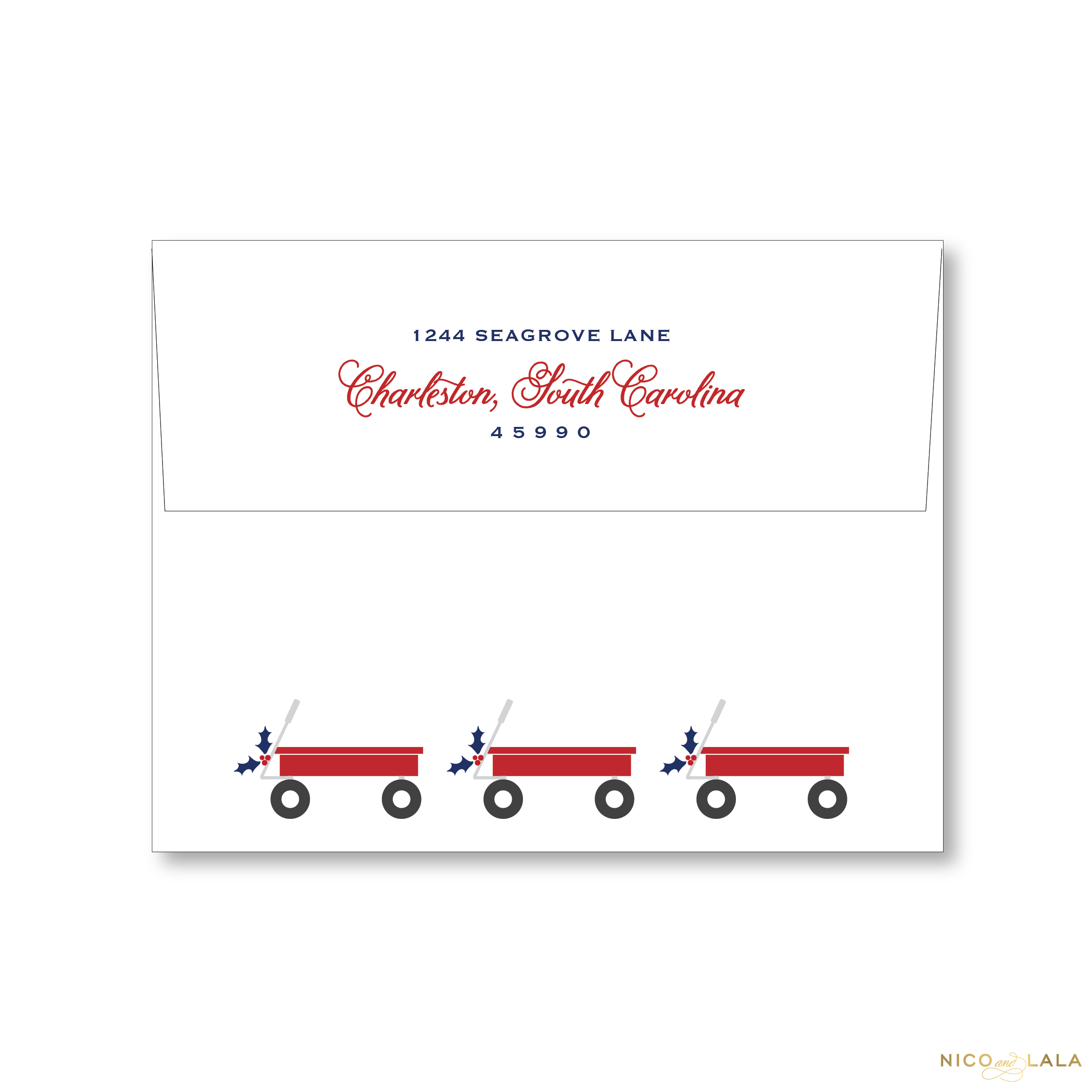 Red Wagon Christmas Card Return Address Printing