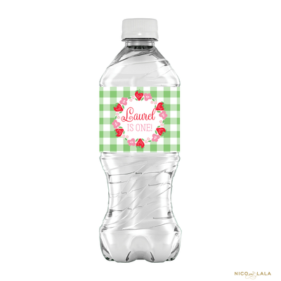Strawberry Birthday Water Bottle Labels