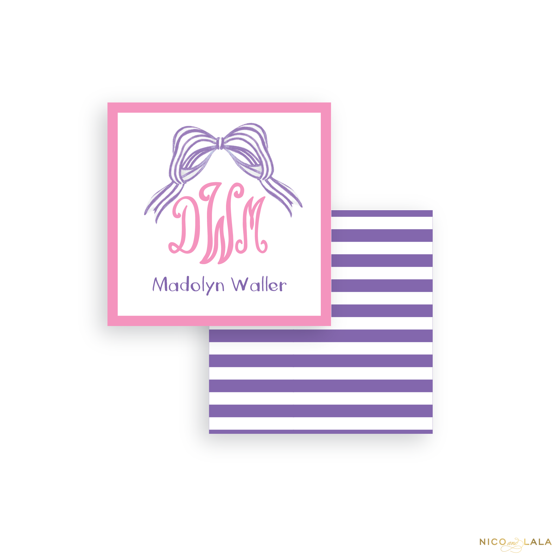 Striped Bow Calling Cards