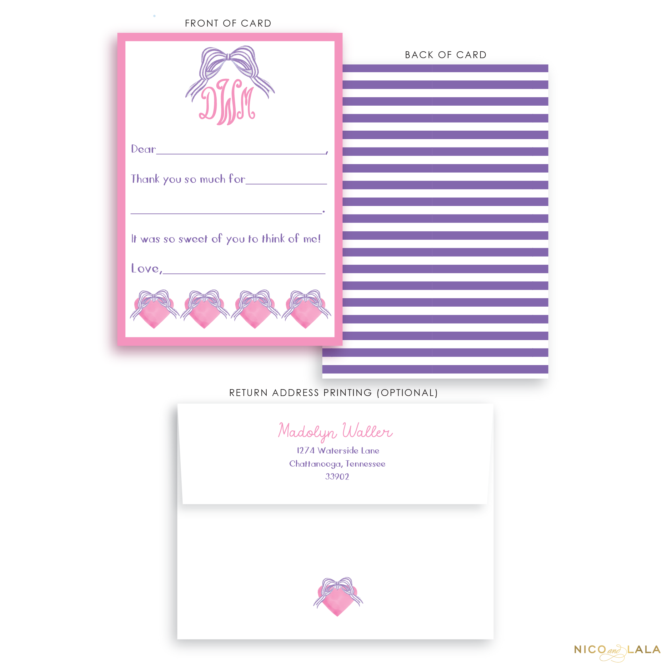 Striped Bow Fill in The Blank Stationery