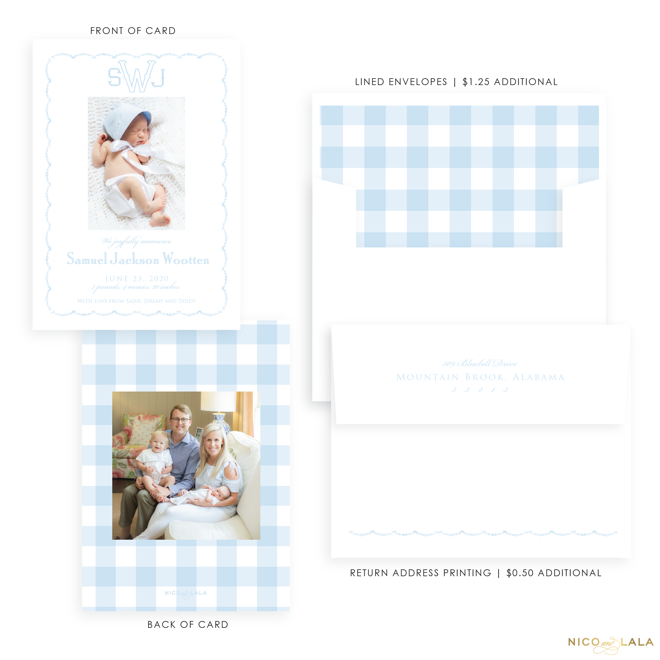 Sweet Gingham Birth Announcement, Blue