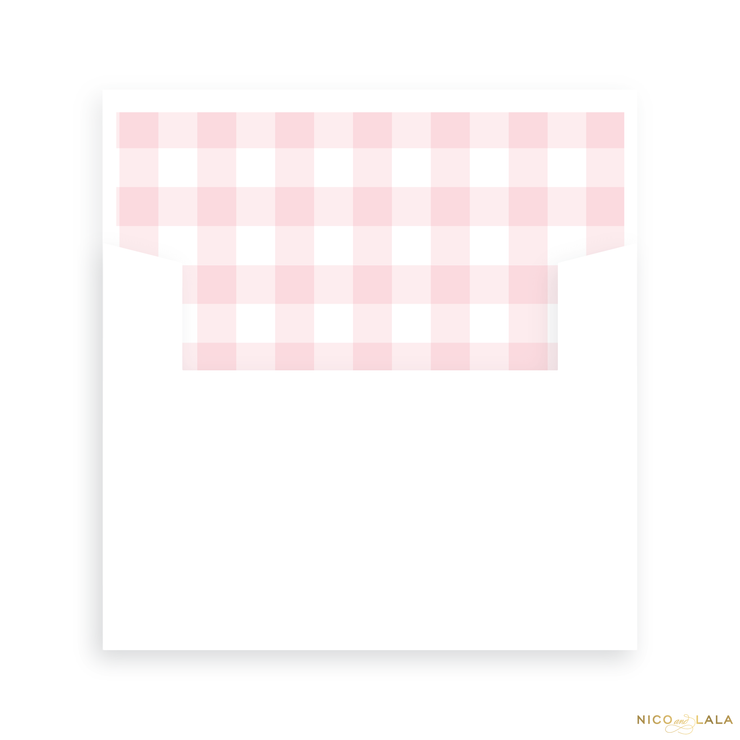 Sweet Gingham Birth Announcement Lined Envelopes