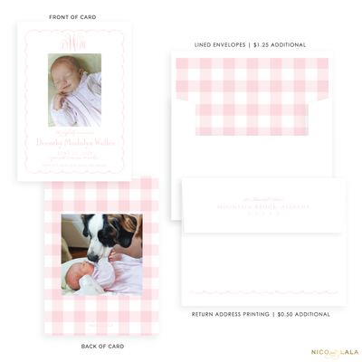 Sweet Gingham Birth Announcement, Pink