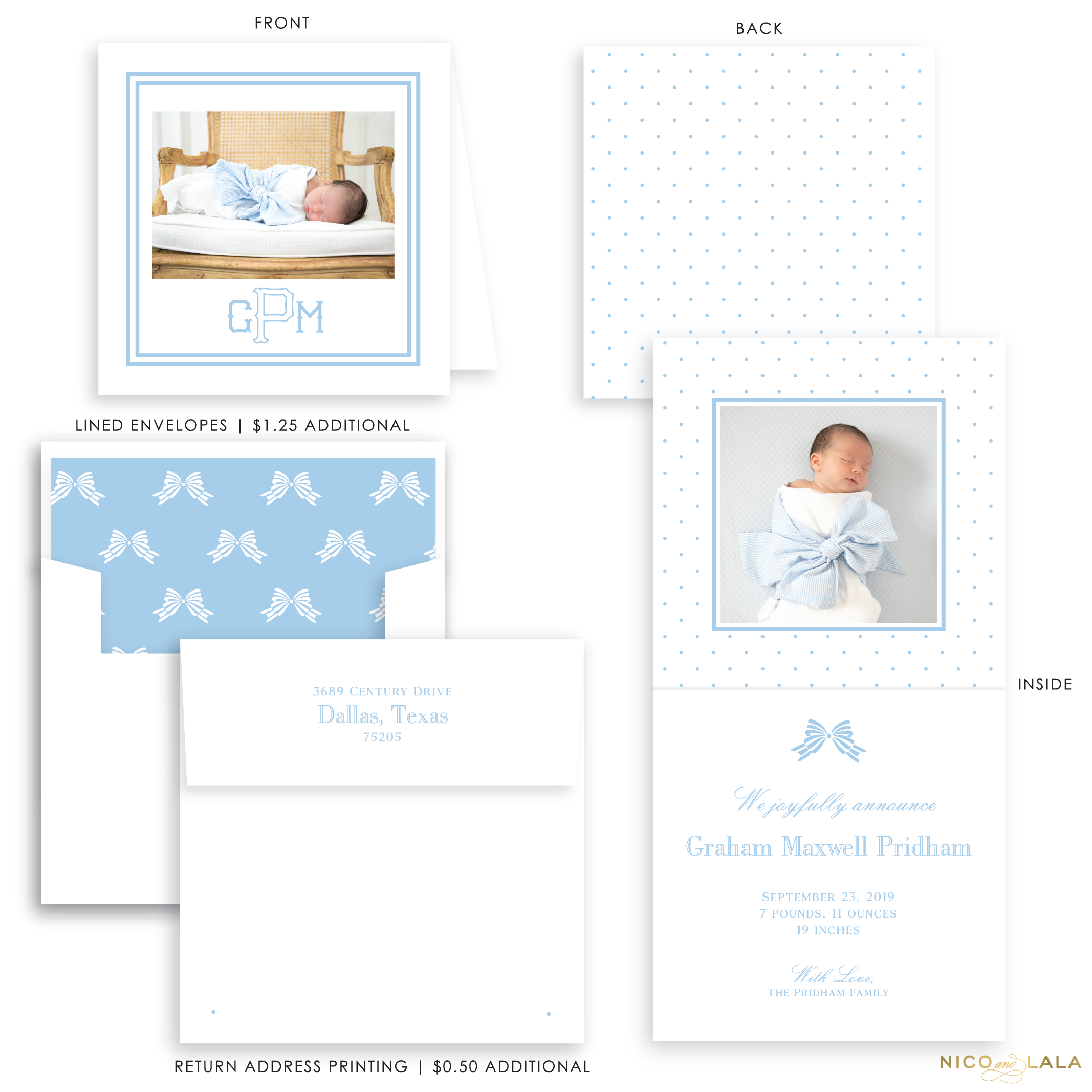 Swiss Dot Folded Birth Announcement, Blue