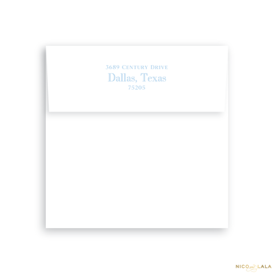 Swiss Dot Folded Birth Announcement Return Address Printing