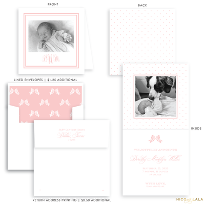 Swiss Dot Folded Birth Announcement, Pink