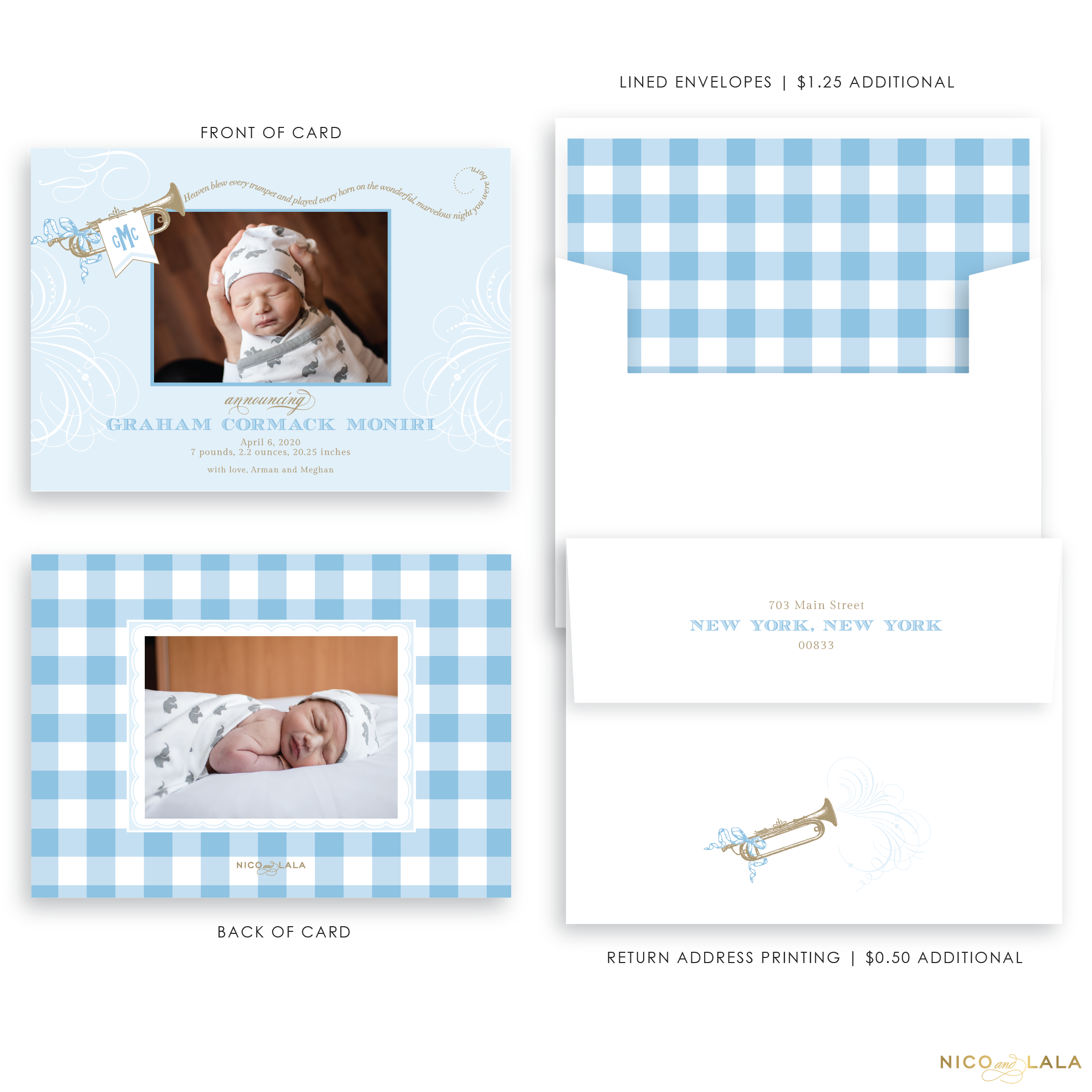 Trumpet Birth Announcement, Blue and Tan
