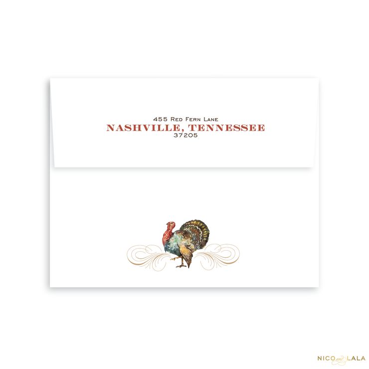 Give Thanks Thanksgiving Card Return Address Printing