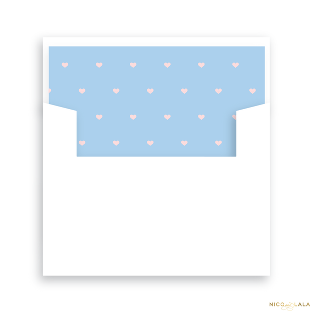 Twin Hearts Birth Announcement Lined Envelopes