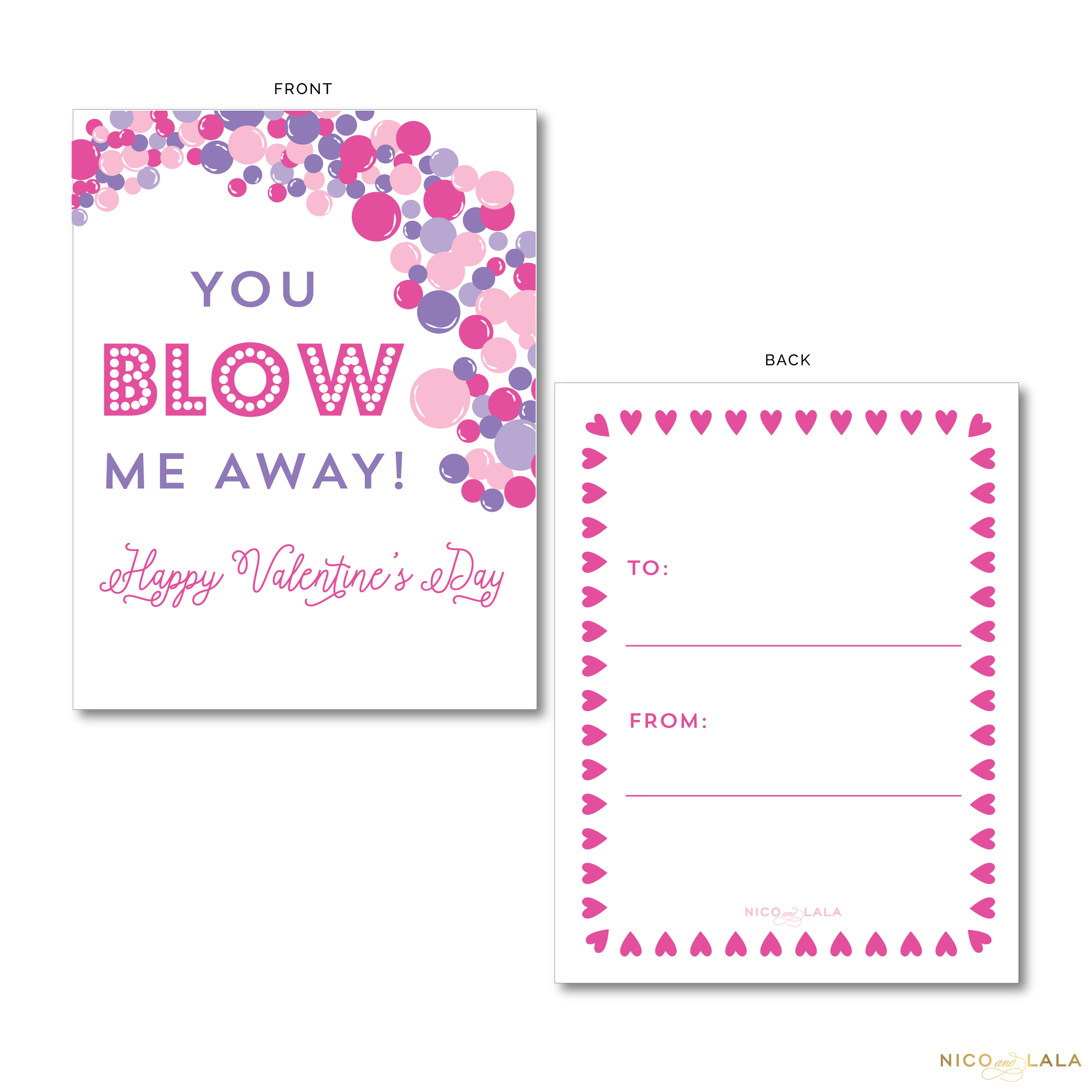 Pink and Purple Bubbles Valentine's Cards