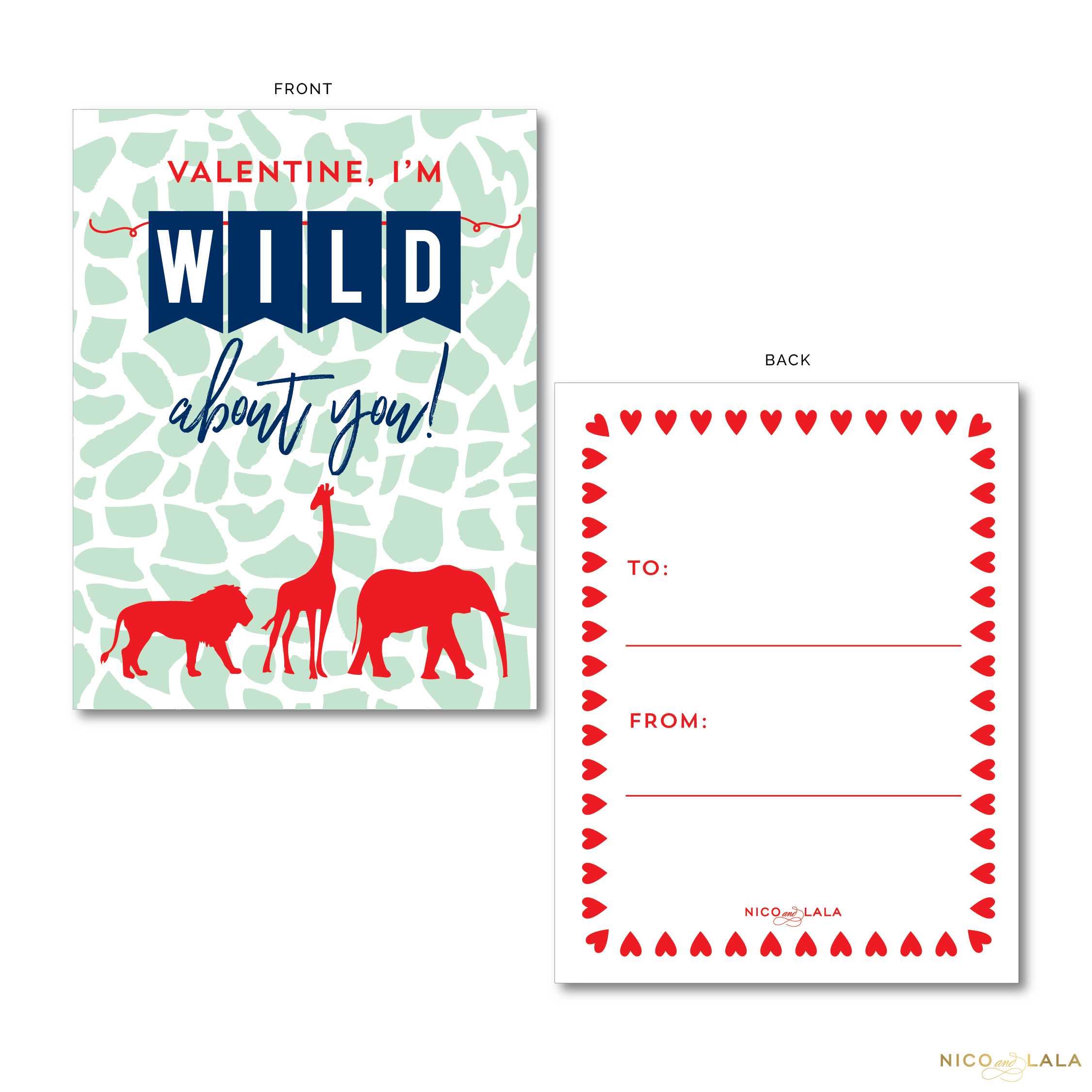 Wild About You Valentine's Cards