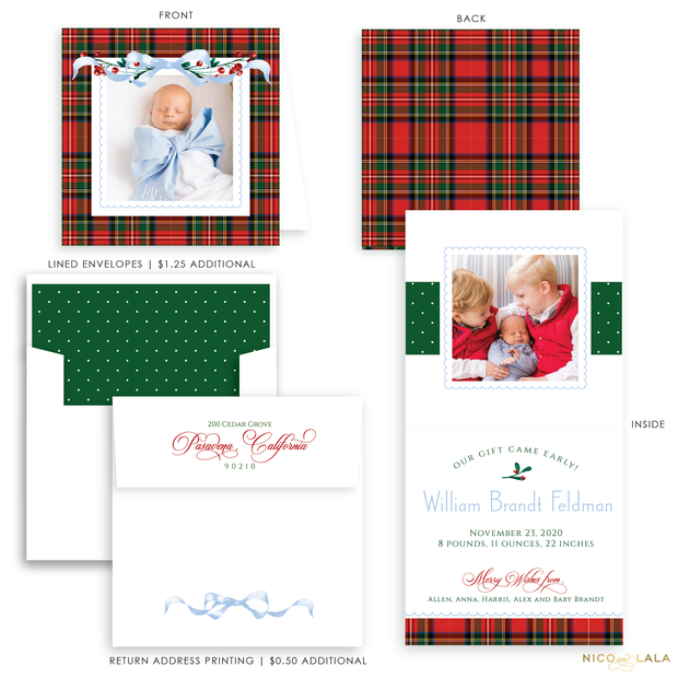 Very Merry Plaid Christmas Card Birth Announcement, Blue