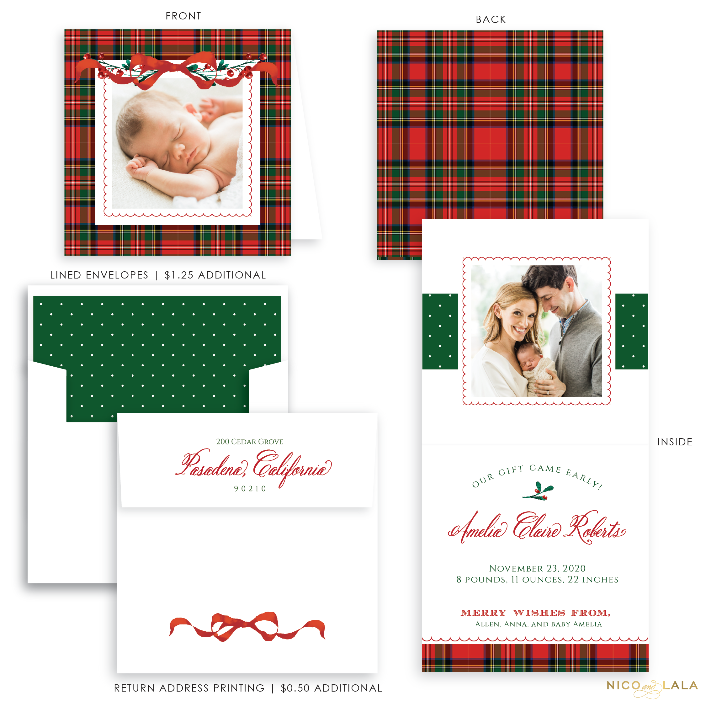 Very Merry Plaid Christmas Card Birth Announcement, Red