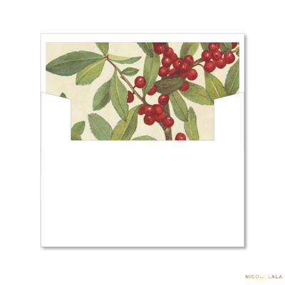 Vintage Holly Christmas Card Lined Envelopes