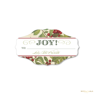 Vintage Holly Christmas Gift Stickers