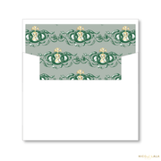 Vintage Wreath Christmas Card Lined Envelopes