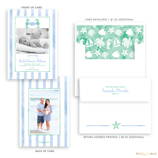 Watercolor Beach Birth Announcement, Blue and Green