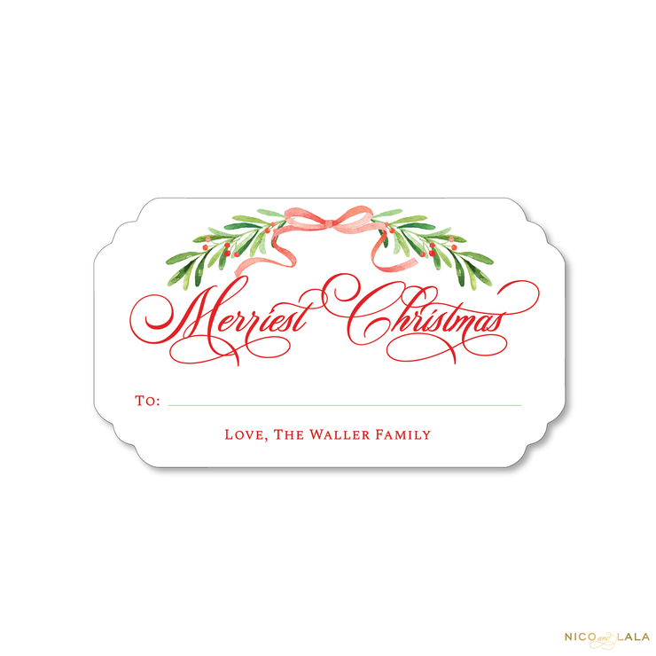 Watercolor Garland Christmas Gift Stickers