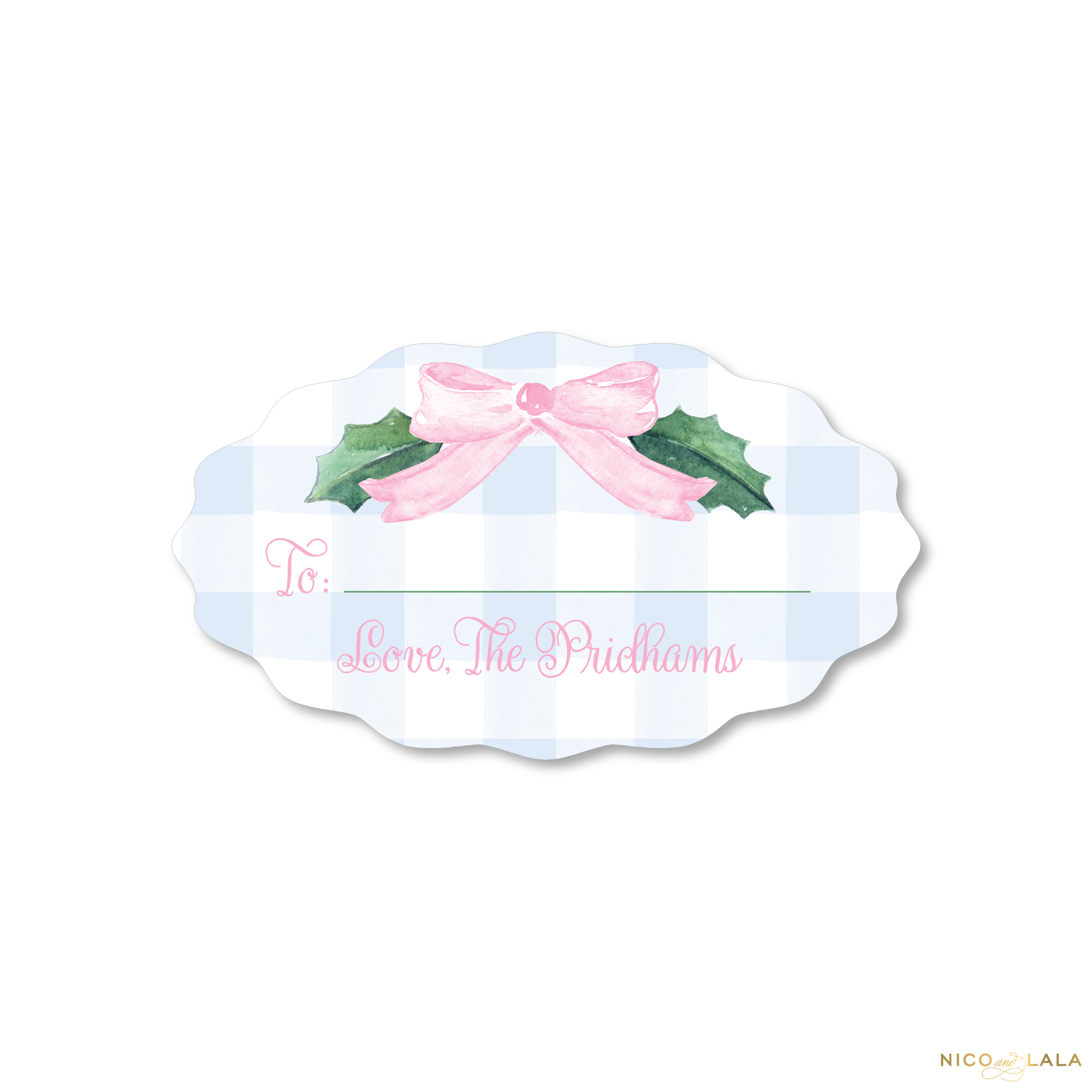 Watercolor Gingham Christmas Gift Stickers