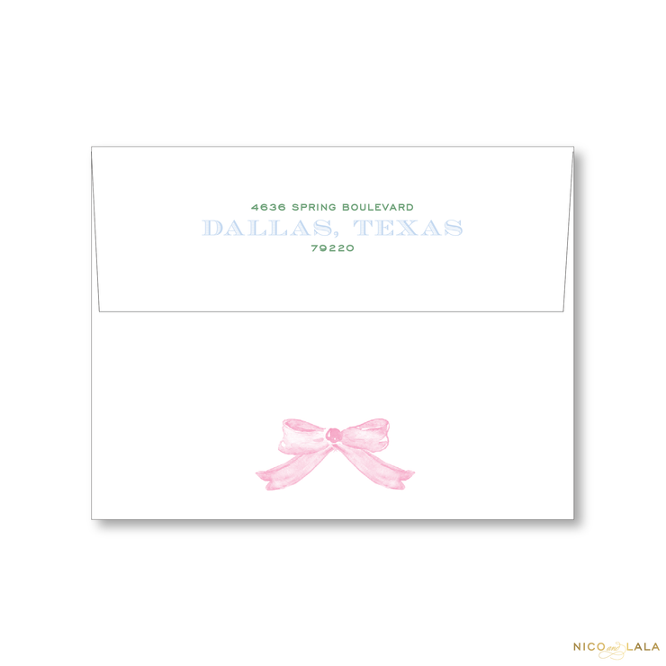 Watercolor Gingham Christmas Card Return Address Printing