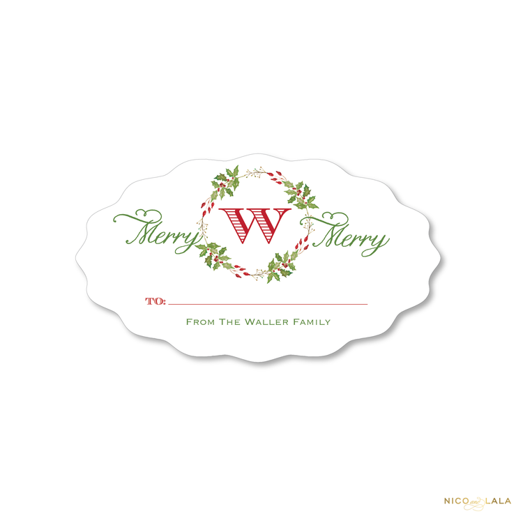 Watercolor Holly Christmas Gift Stickers