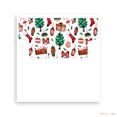 Ornament Christmas Card Lined Envelopes