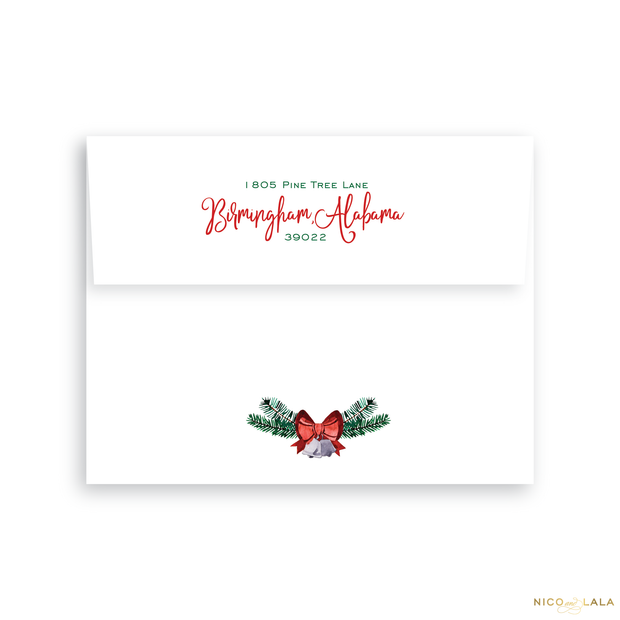 Ornament Christmas Card Return Address Printing