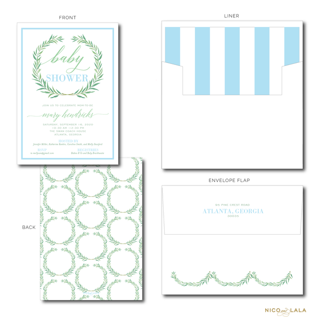 WATERCOLOR WREATH INVITATIONS