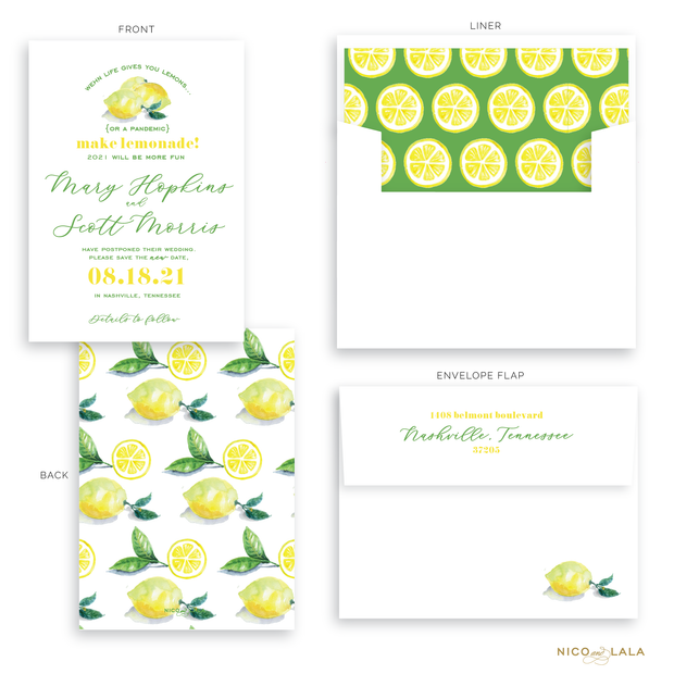 When Life Gives You Lemons Postponement Cards