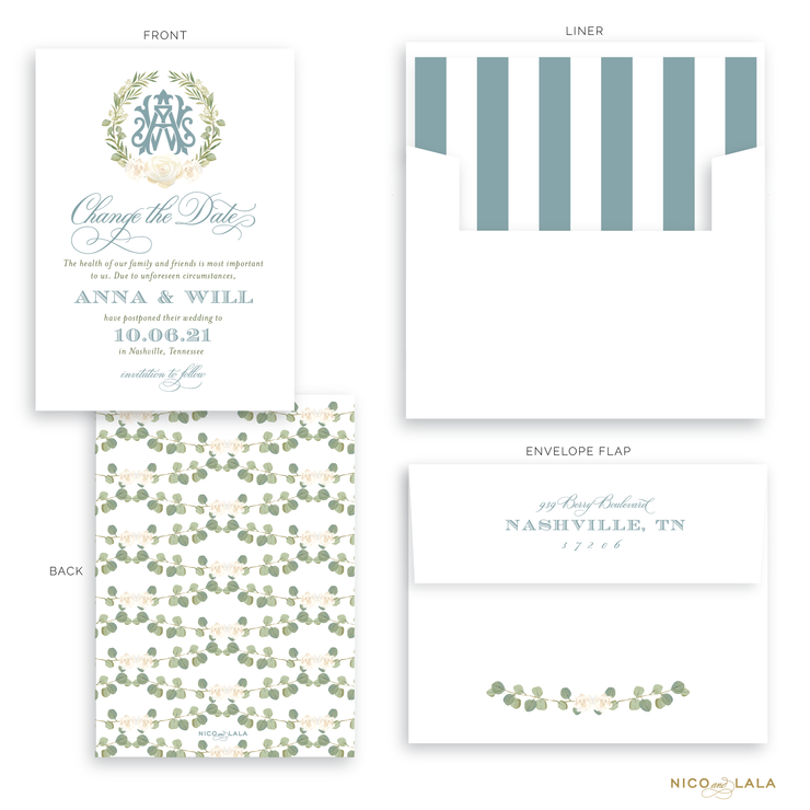 Wreath Monogram Wedding Postponement Cards