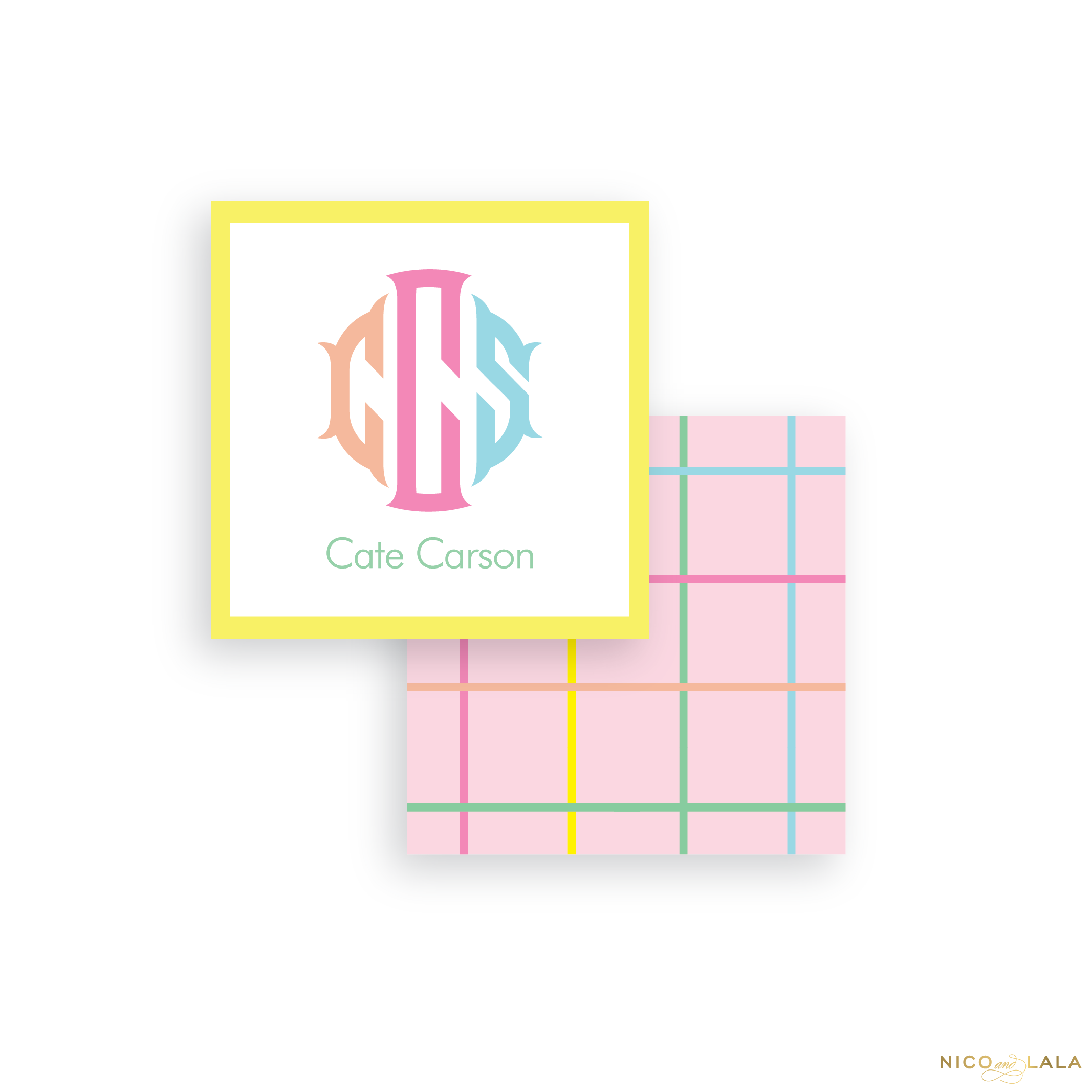 Pink Windowpane Calling Cards