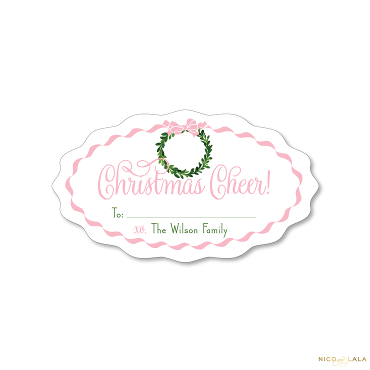 Wreath and Bow Christmas Gift Stickers