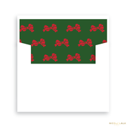 Wreath and Bow Christmas Card Lined Envelopes