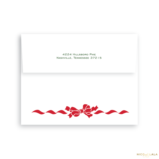 Wreath and Bow Christmas Card Return Address Printing