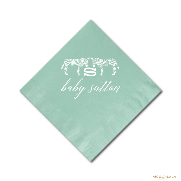 Chic Zebra Baby Shower Napkins