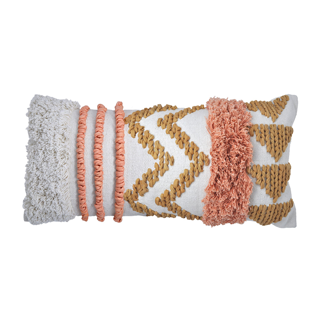 DARCY CUSHION WHITE/PEACH - PREORDER