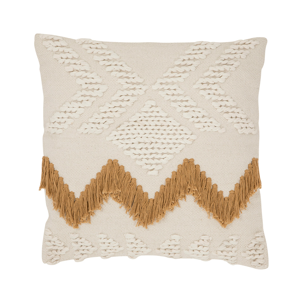 FRINGE CUSHION WHITE/TAN