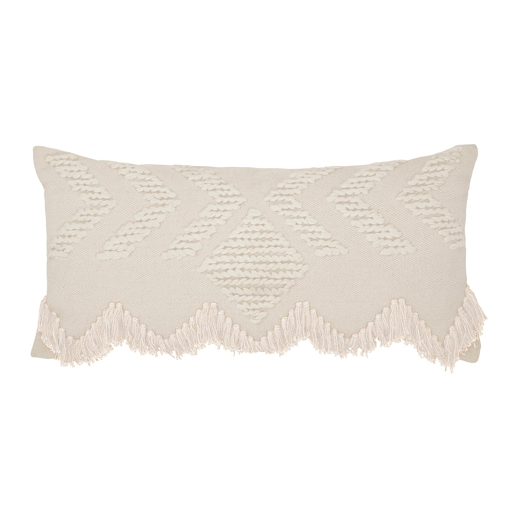 FRINGE CUSHION WHITE/WHITE RECTANGULAR